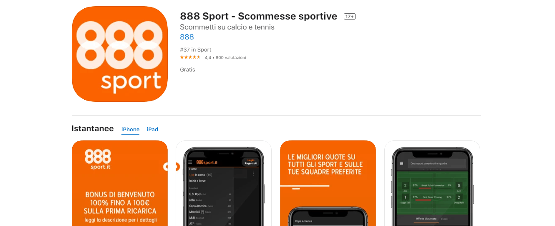 app scommesse 888sport ios