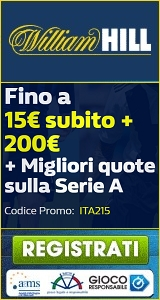 Scommesse online: su William Hill bonus di benvenuto 15€ + 200€