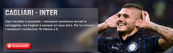 Cagliari Inter: pronostici e 60 euro bonus su Unibet