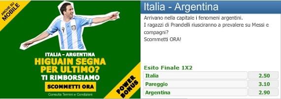 Italia Argentina su Paddy Power