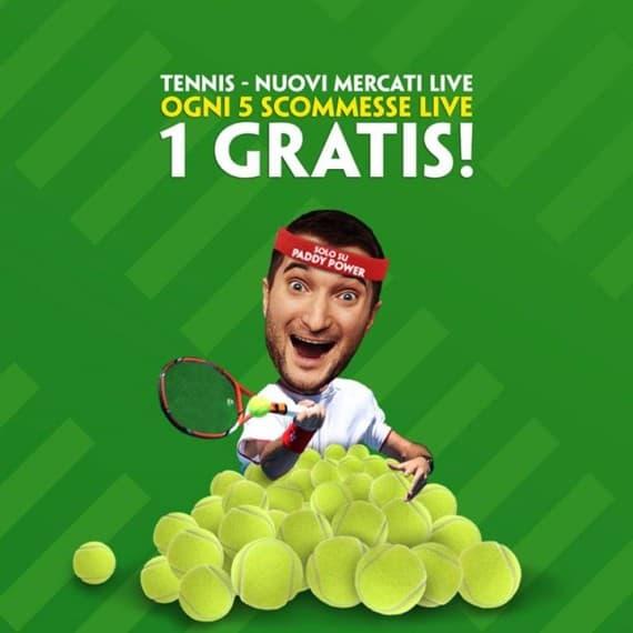 Ogni 5 scommesse live sul tennis 1 la paga Paddy Power