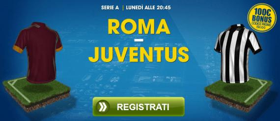 Roma Juventus: pronostici e bonus da 100 euro su William Hill