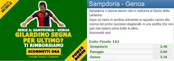 Sampdoria Genoa su Paddy Power