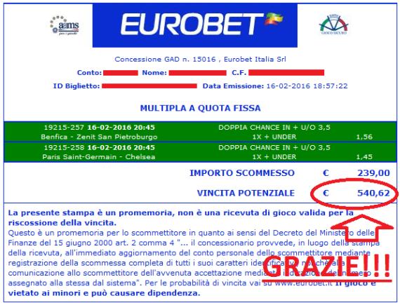 Schermata di una scommessa online vinta su Eurobet Italia grazie ai nostri pronostici vincenti