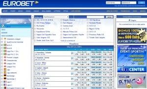 Schermata scommesse del sito Eurobet.it