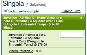 Scommessa Juventus-Atletico Madrid