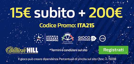 William Hill, nuovo codice bonus ITA215