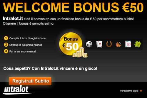 intralot bonus iscrizione 50 euro